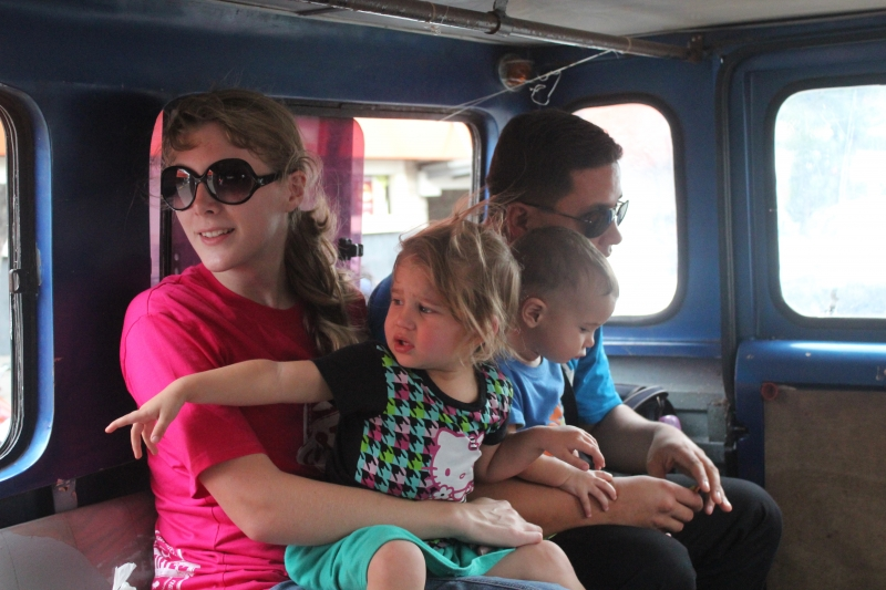 Our Family on the church jeep